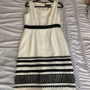 Cocktail Ivory Dress with Black Sequence Designs